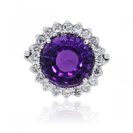 You are viewing this 14k White Gold Diamond Amethyst Cocktail Ring!