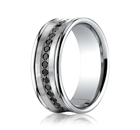 benchmark cf717592 14k white gold concave black diamond wedding band