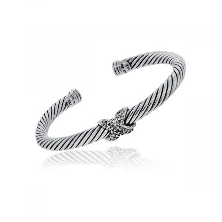 "You are viewing this David Yurman Sterling Silver ""X' Diamond 5mm Bangle Bracelet!"