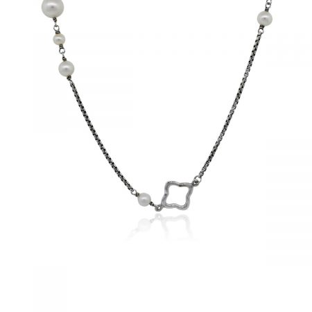 """You are viewing this David Yurman Quatrefoil Sterling Silver 48"""" Pearl Chain Necklace!"""