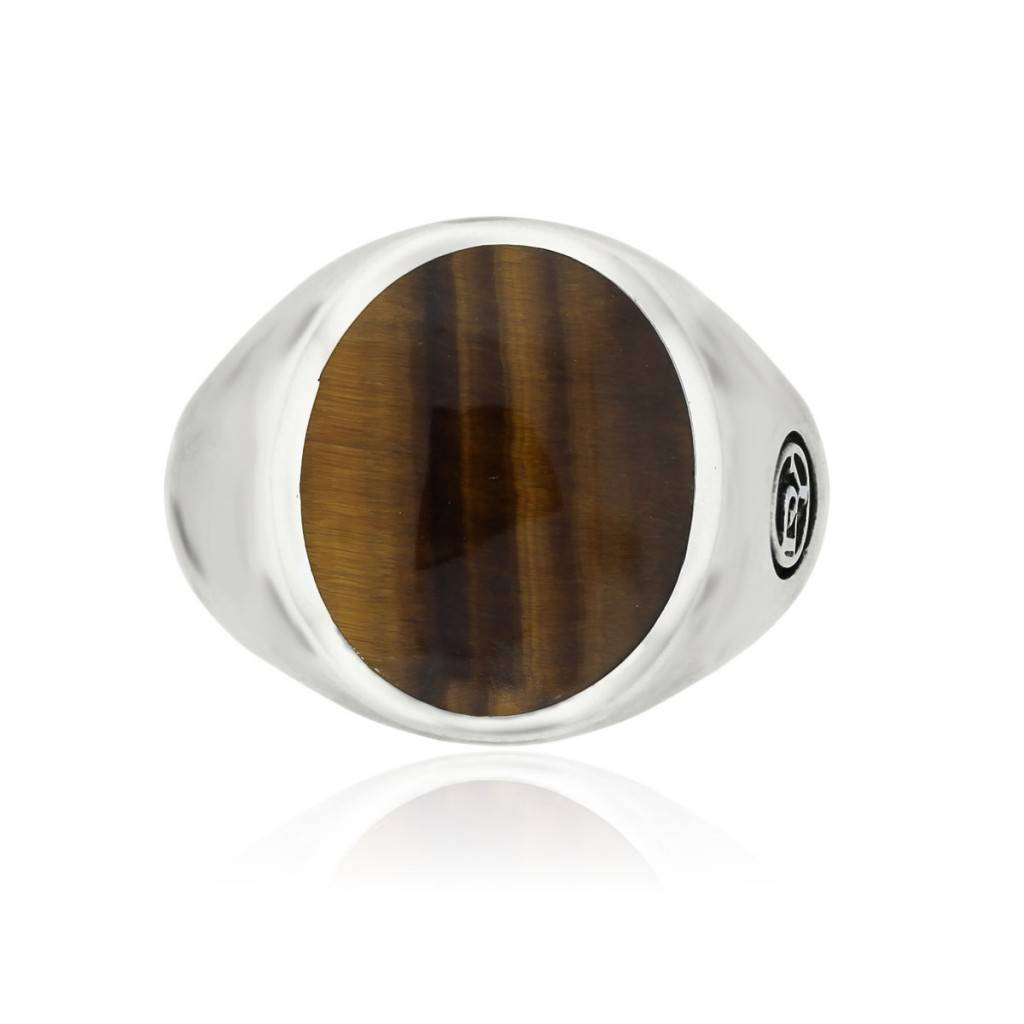 eb52516bf9d4a David Yurman Sterling Silver Tiger's Eye Signet Pinky Ring