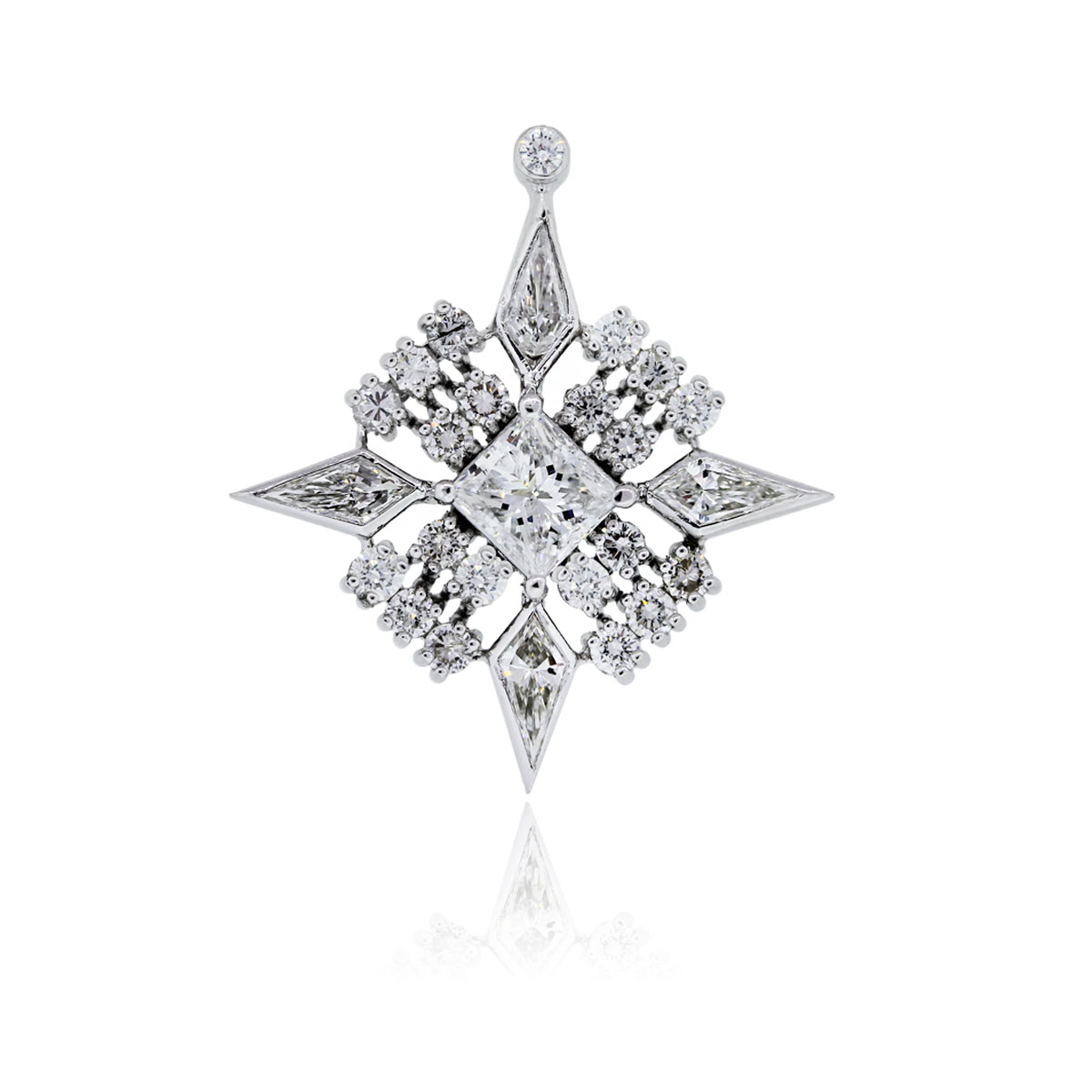 You are viewing this Platinum 2.57ctw Diamond Star Burst Vintage Pendant!