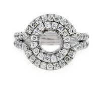 Uneek LVS671 1.01ctw Double Halo Split Shank Diamond Engagement Ring