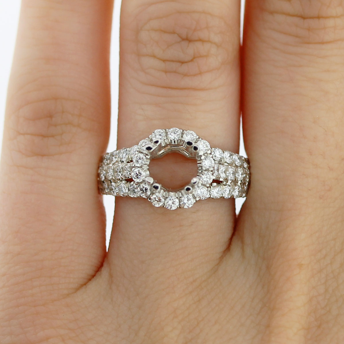 Uneek LVS803 114ctw Diamond Halo Tri Band Engagement Ring