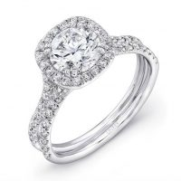 Uneek LVS898 0.58ctw Diamond Cushion Halo Engagement Ring