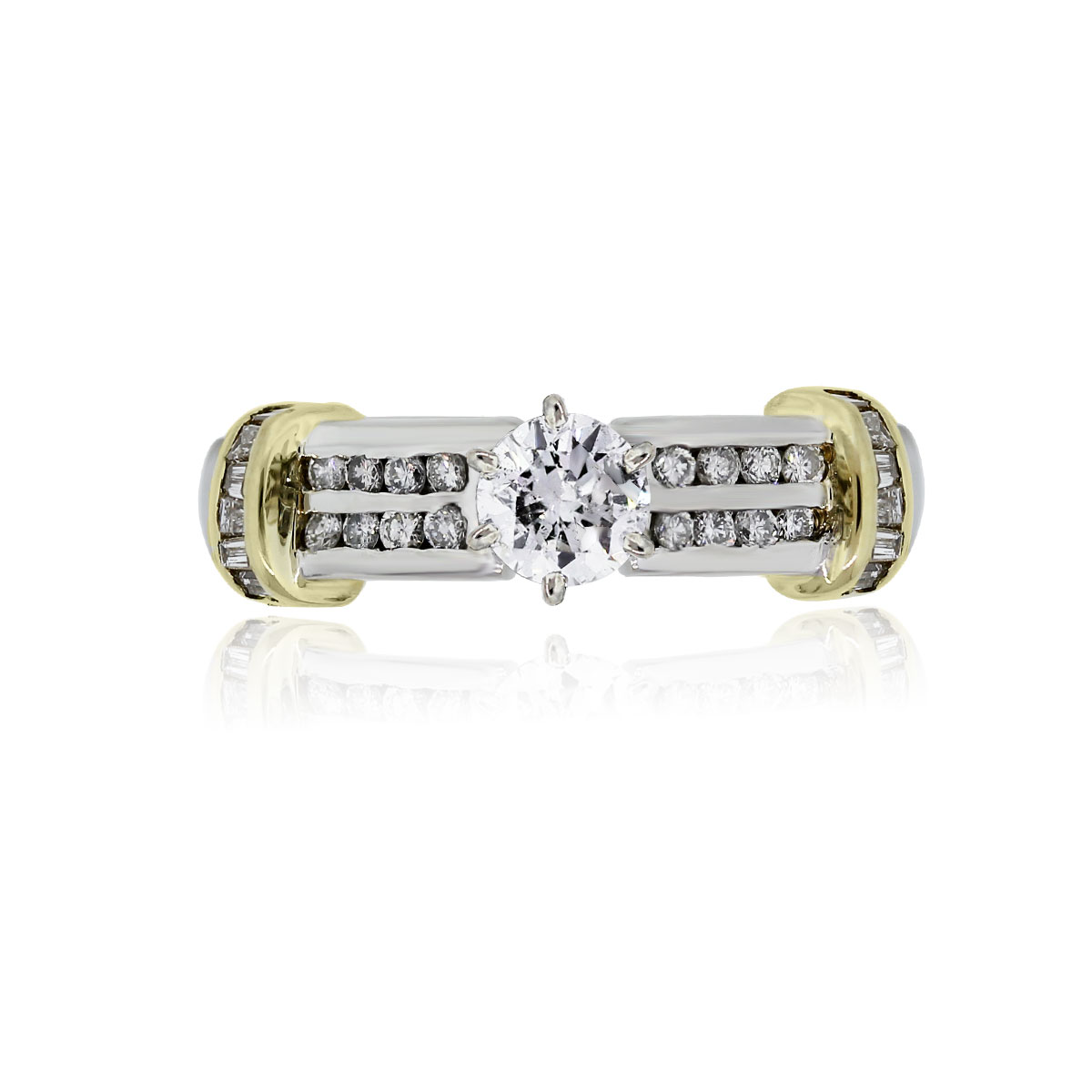 You are viewing this Platinum and Gold Round Brilliant Diamond Wedding Ring!