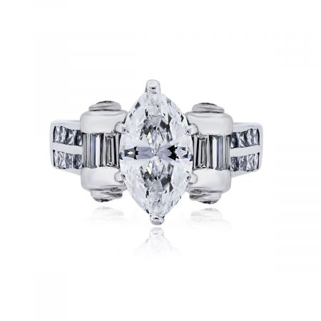 You are viewing this Platinum 1.50ct Marquise Brilliant Diamond Wedding Ring!
