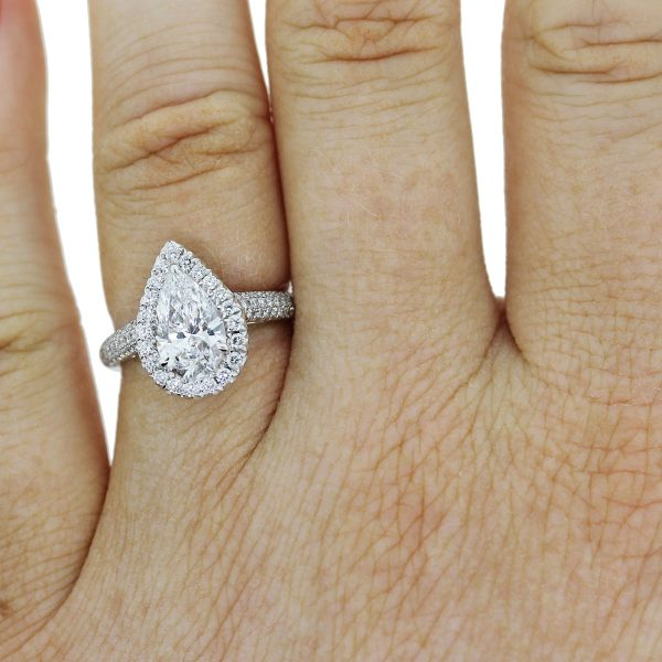 Platinum 1.67ct Pear Shape Diamond GIA certified Engagement Ring on finger