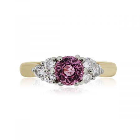 You are viewing this 14k Yellow Gold Pink Sapphire Diamond Ring!