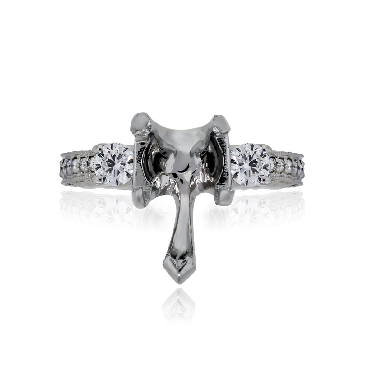 You are viewing this Platinum Pear Shape Diamond Engagement Ring Mounting!