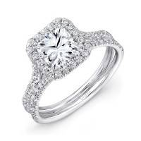 Uneek LVS899 0.52ctw Diamond Square Halo Engagement Ring