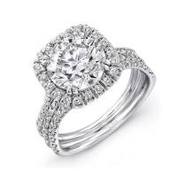 Uneek LVS904 0.85ctw Cushion Halo Engagement Ring