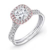 Uneek LVS898 0.62ctw Cushion Halo Engagement Ring