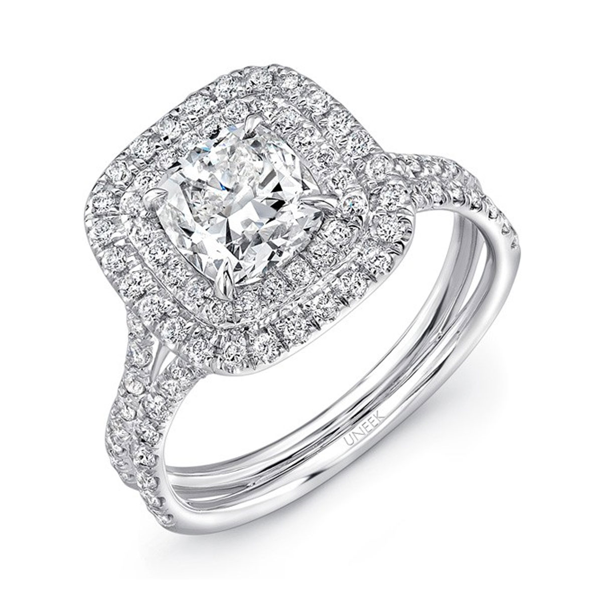 Uneek LVS914 0.65ctw Double Cushion Halo Engagement Ring
