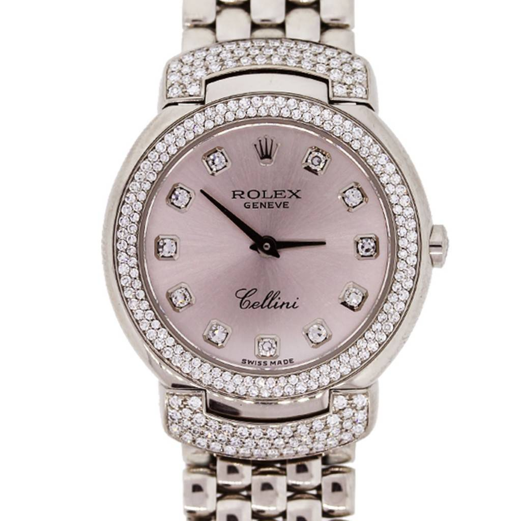 Rolex cellini 6673 white gold pink diamond dial diamond ladies watch for Rolex cellini