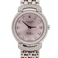 Rolex Cellini 6673 White Gold Pink Diamond Dial Diamond Ladies Watch