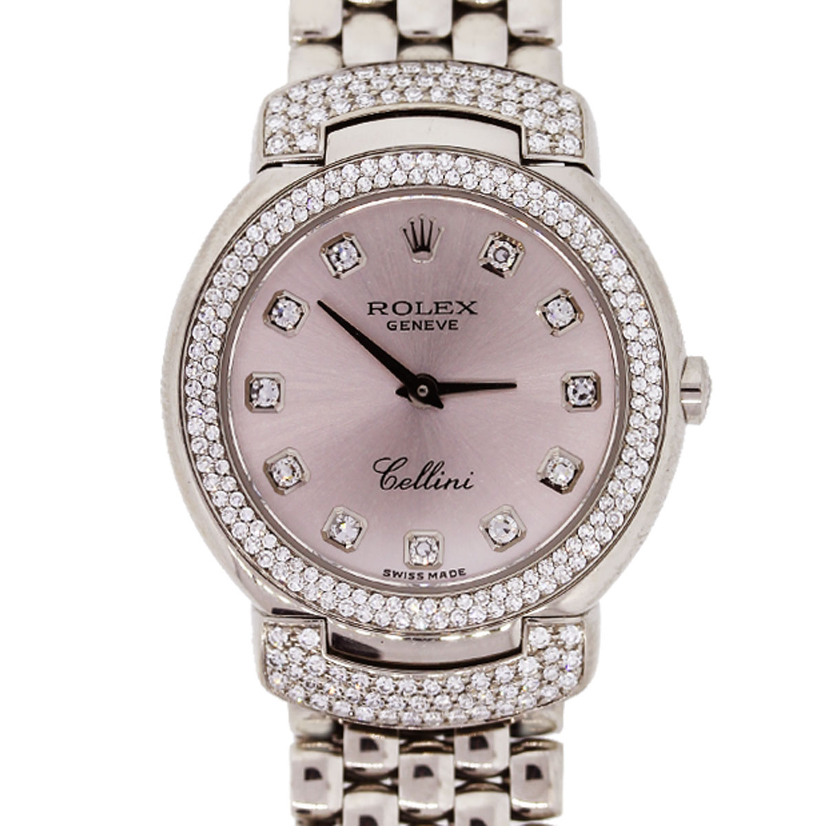 Rolex Cellini 6673 White Gold Pink Diamond Dial Diamond