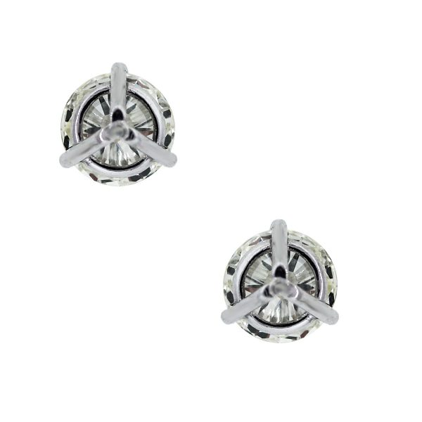 White Gold Round Brilliant Diamond Stud Earrings