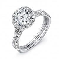Uneek LVS924 0.58ctw Diamond Split Shank Engagement Ring
