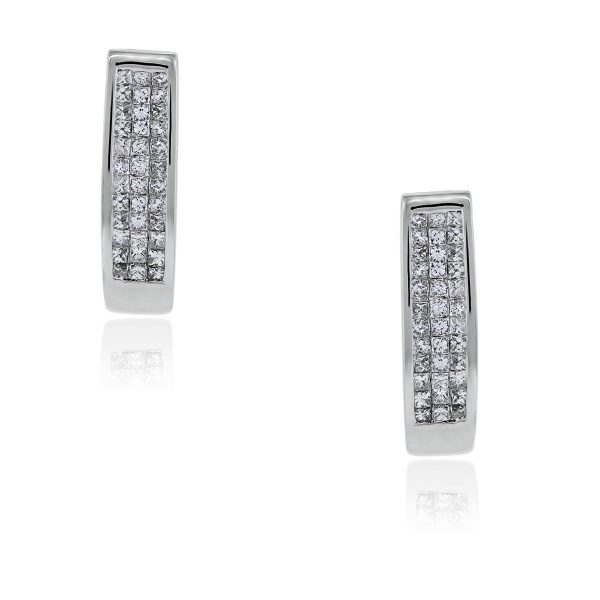 You are viewing these 14k White Gold Invisible Set Princess Cut Diamond Huggie Earrings!
