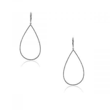 You are viewing these 14k White Gold and Diamonds Tear Drop Earrings!