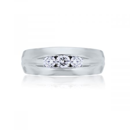 You are viewing this 14k White Gold Round Brilliant Diamonds Gents Ring!