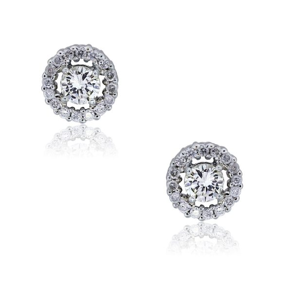You are viewing these 18k White Gold 1ctw Diamond Halo Stud Earrings!