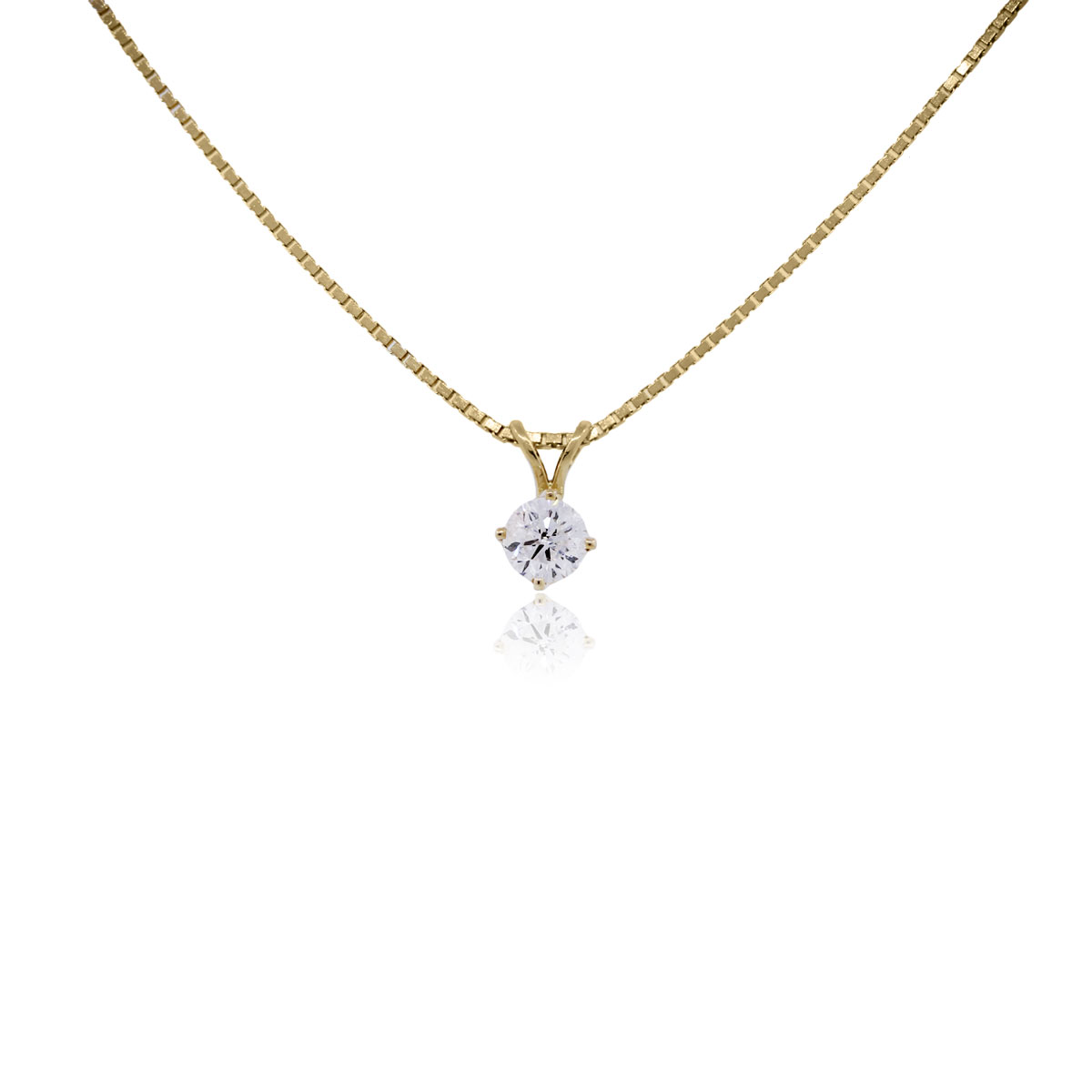 You are viewing this 14k Yellow Gold Round Brilliant Diamond Pendant Necklace!