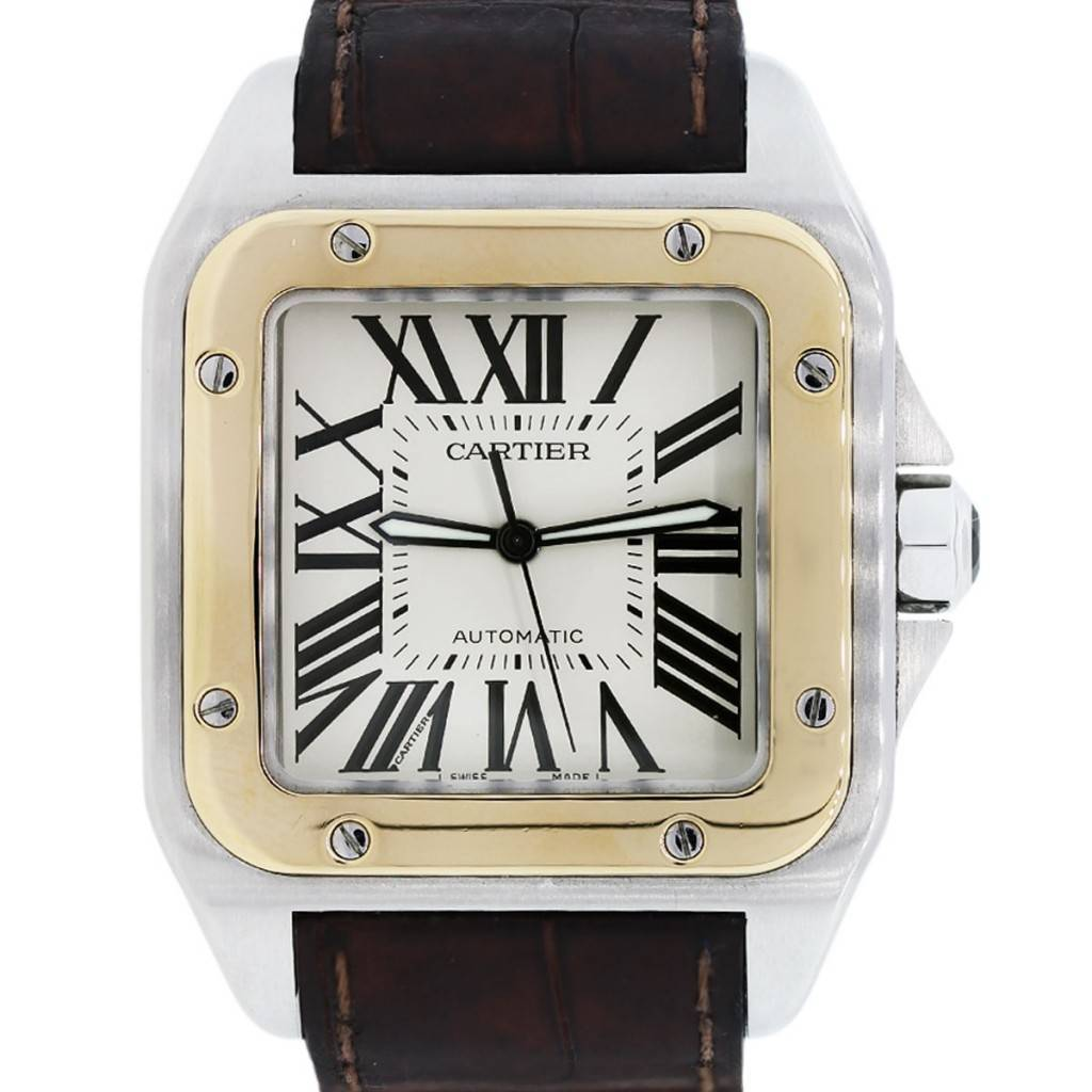 72e13461009 Cartier Santos 100 XL Two Tone on Brown Alligator Strap Mens Watch