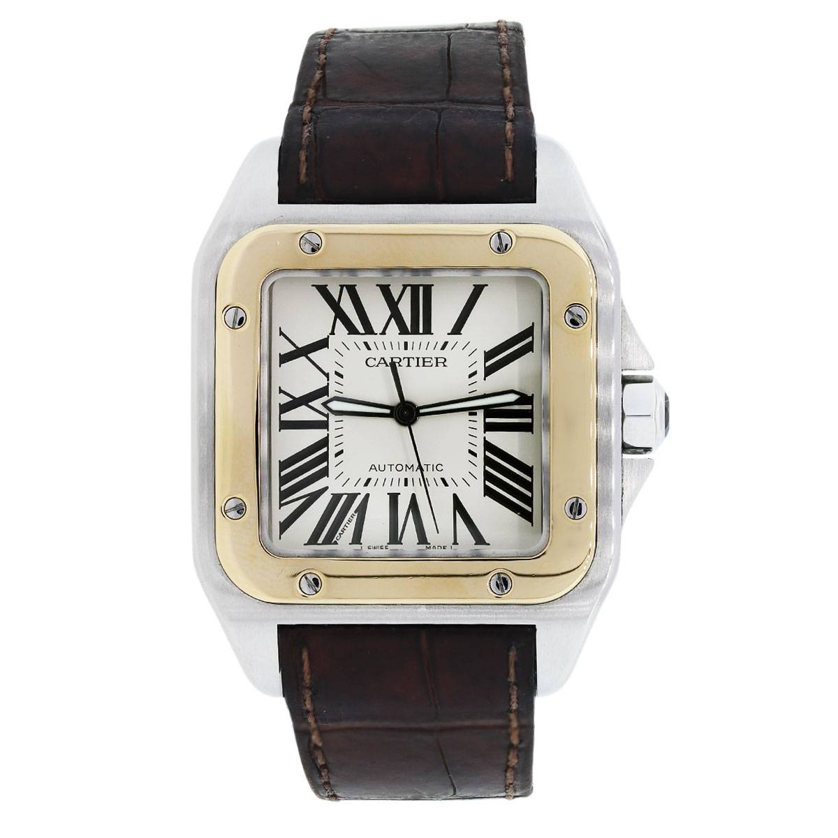 Cartier Santos 100 XL Two Tone on Brown Alligator Strap Mens Watch