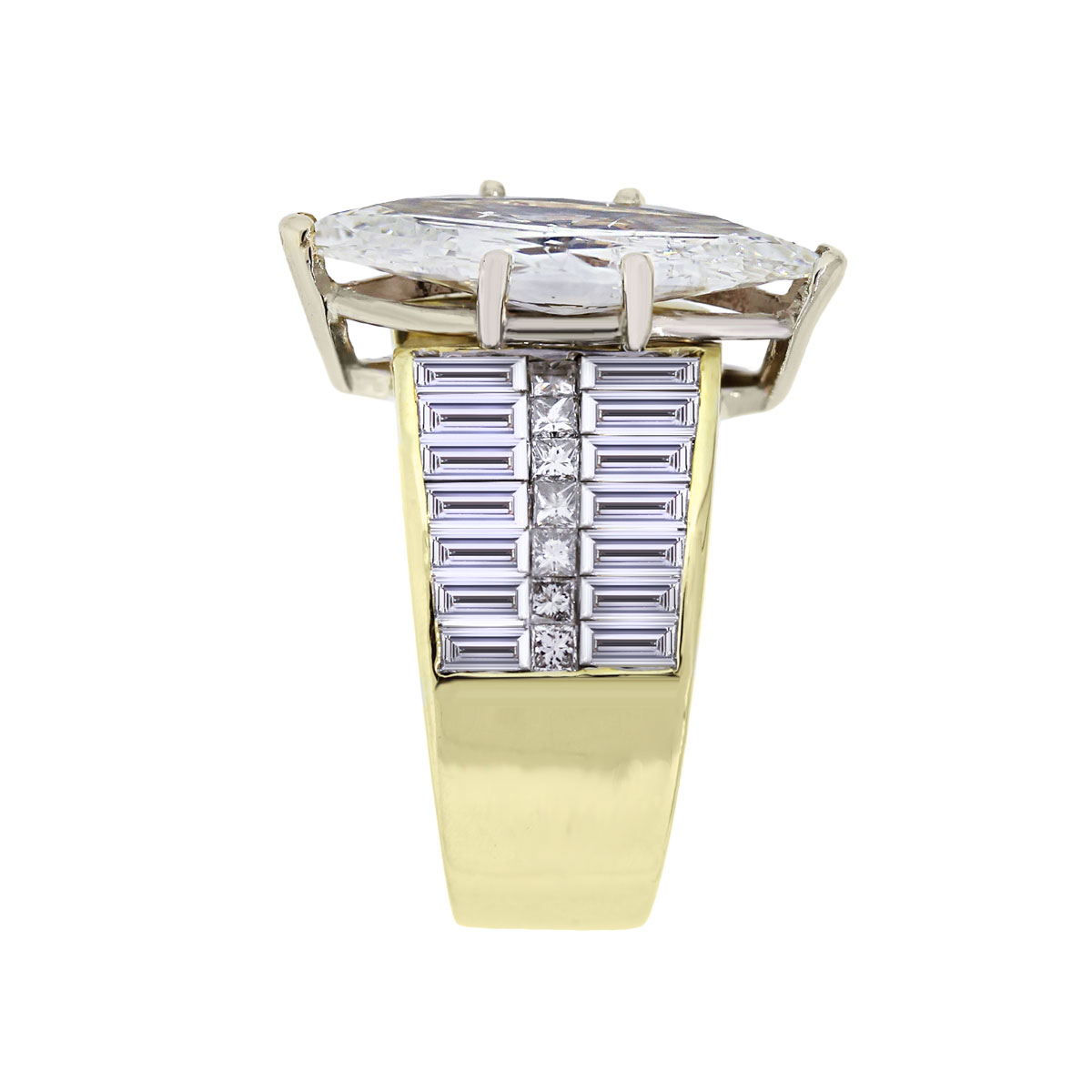 Yellow Gold Marquise and Baguettes Diamond Ring