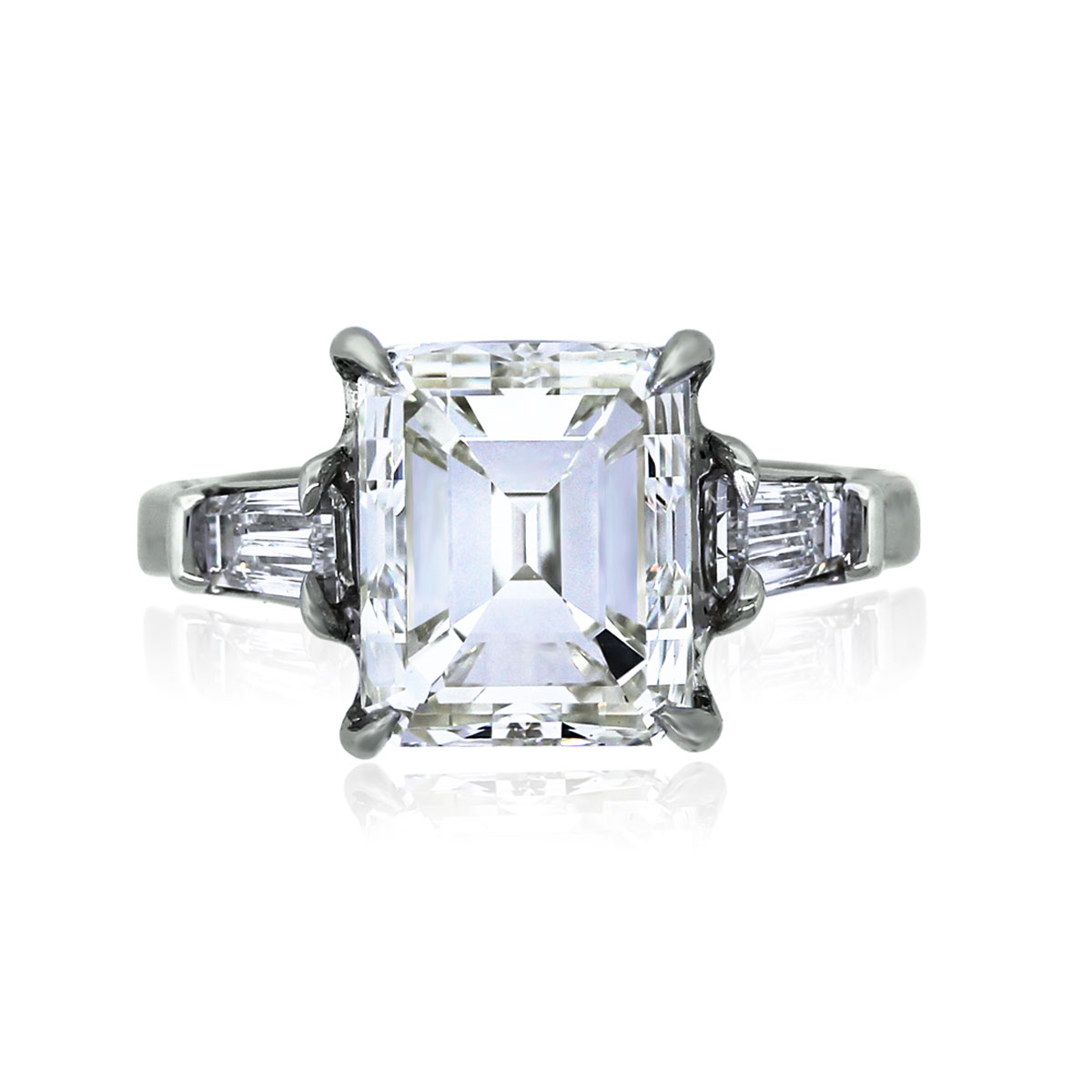 You are viewing this Platinum 4CT Emerald with Baguette Diamonds Engagement Ring!