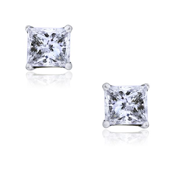 You are viewing these 14k White Gold Princess Cut Diamond Stud Earrings!