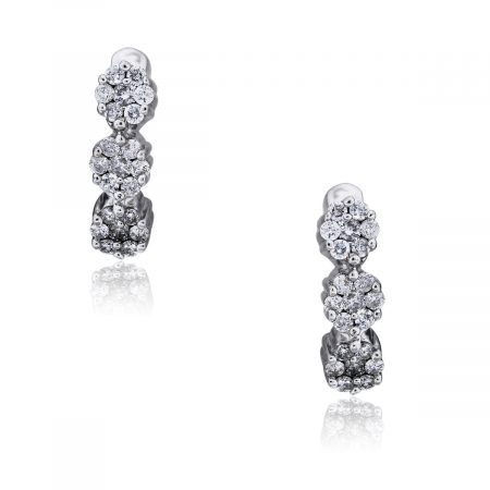 You are viewing this 14k White Gold Round Brilliant Cluster Diamond Earrings!