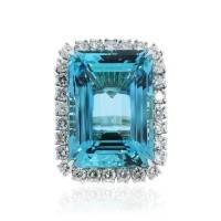Platinum 66.05ct GIA Certified Aquamarine and Diamond Cocktail Ring