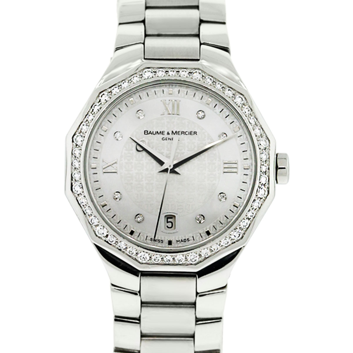 You are viewing this Baume & Mercier Riviera 8597 Diamond Dial and Bezel Ladies Watch!