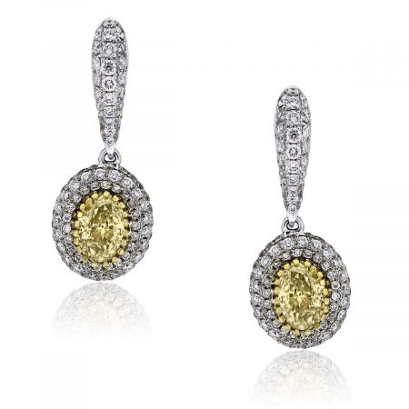 You are viewing these 18k Two Tone Oval Brilliant 1.12ct Fancy Yellow EGL Cert. Earrings!