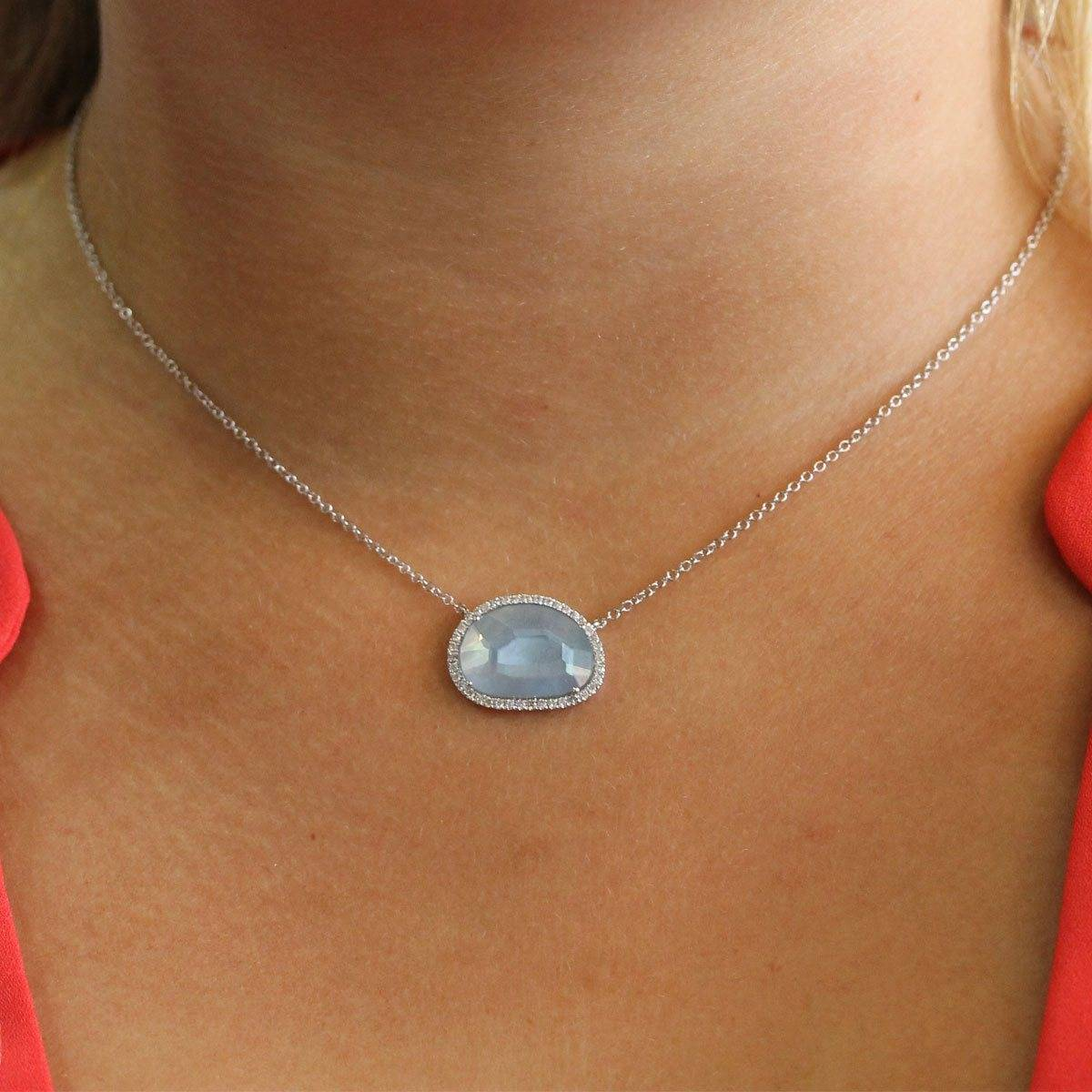Meira T Blue Topaz Mother Of Pearl & Diamond Necklace