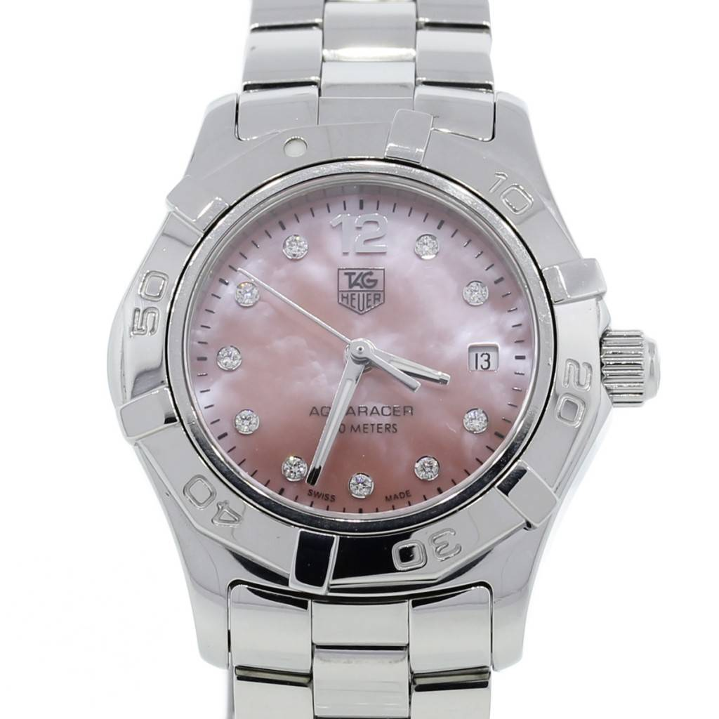 Tag heuer ladies aquaracer pink mother of pearl dial watch for Tag heuer women