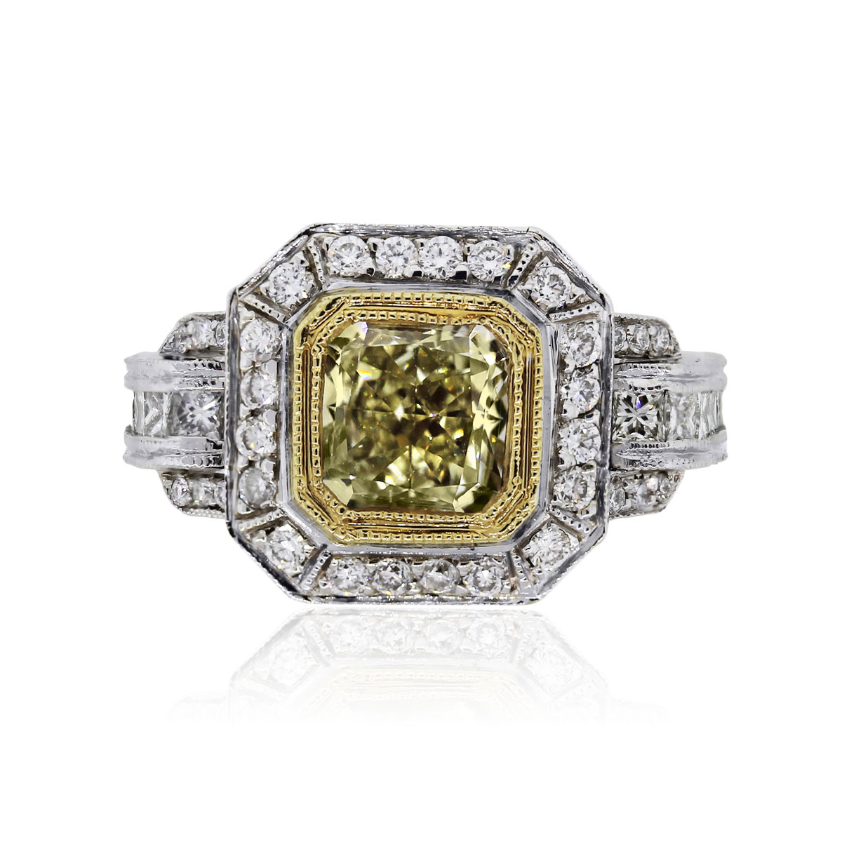 You are viewing this 18k Two Tone 1.64ct Square Brilliant Fancy Yellow EGL Certified Ring!