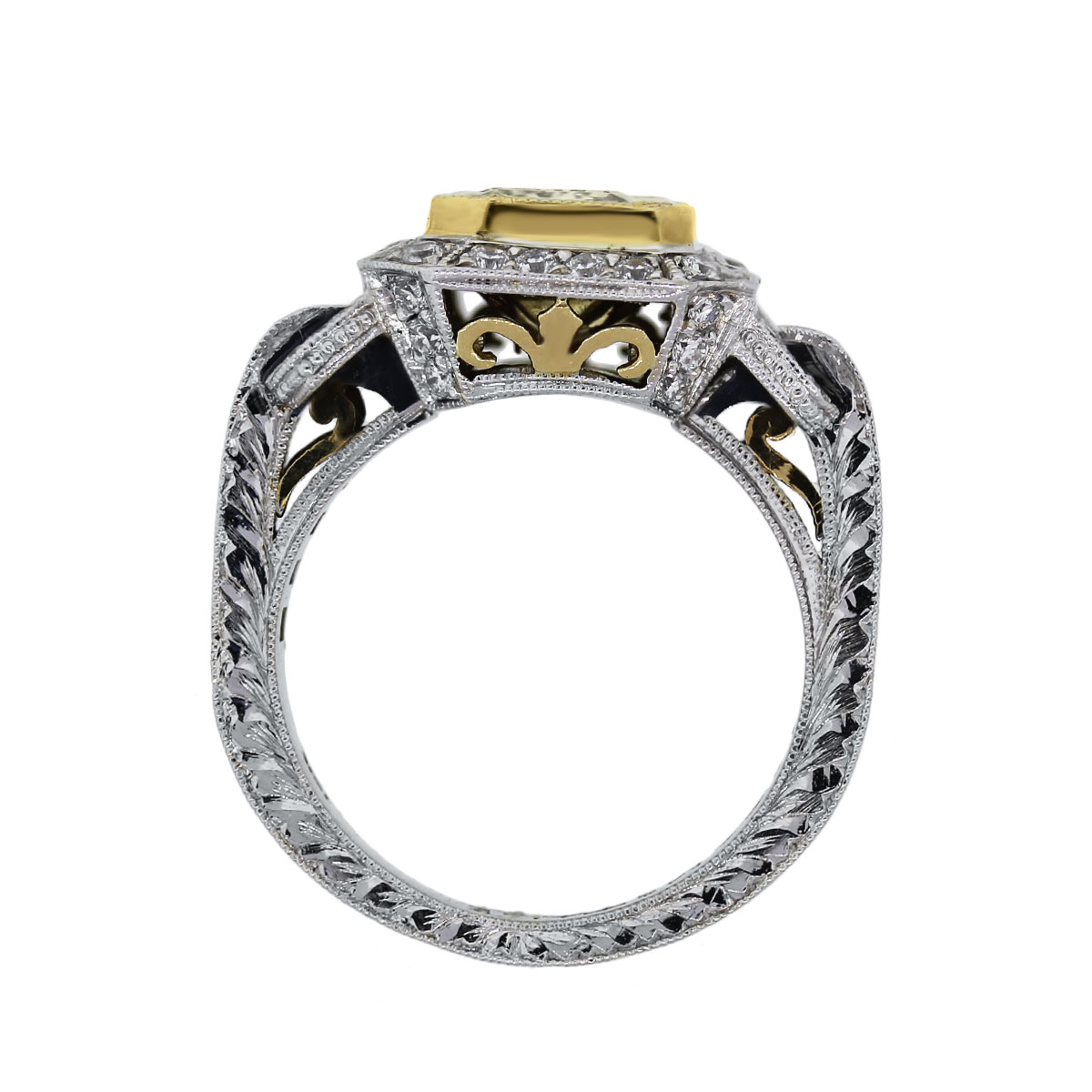 18k Two Tone 1.64ct Square Brilliant Fancy Yellow Certified Ring