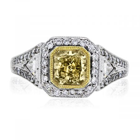 You are viewing this 18k Two Tone Cut Square Brilliant Fancy Yellow EGL Certified Ring!