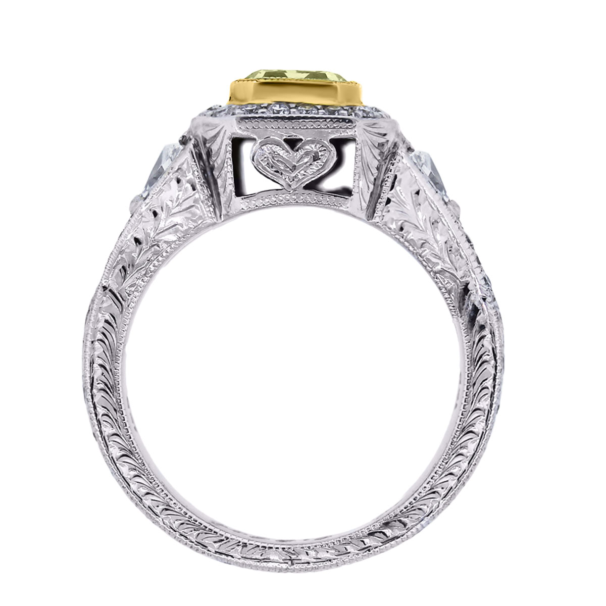18k Cut Square Brilliant Fancy Yellow EGL Certified Ring