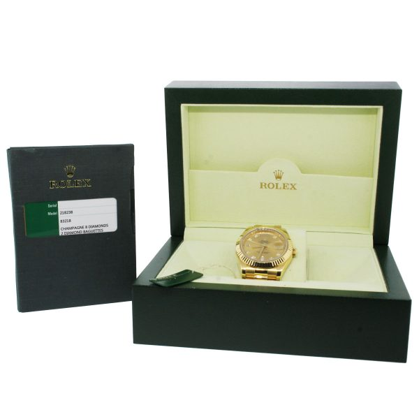 Rolex 218238 Day Date 2 Champagne and Diamond Dial Watch Box and Papers