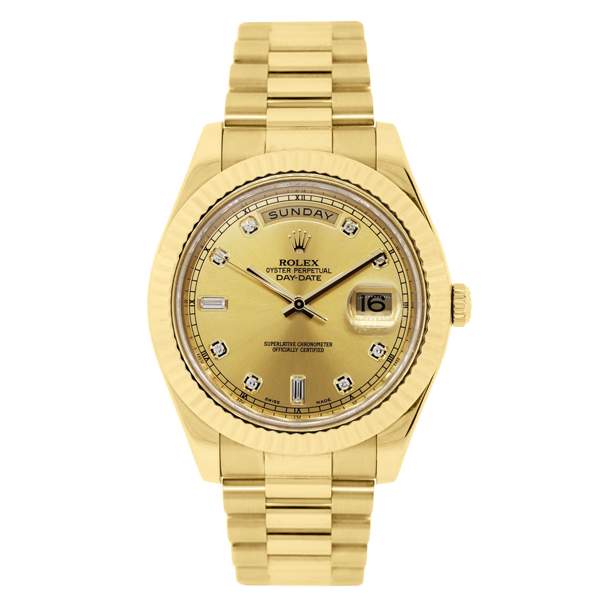 Rolex Day Date 2 Champagne and Diamond Dial Watch