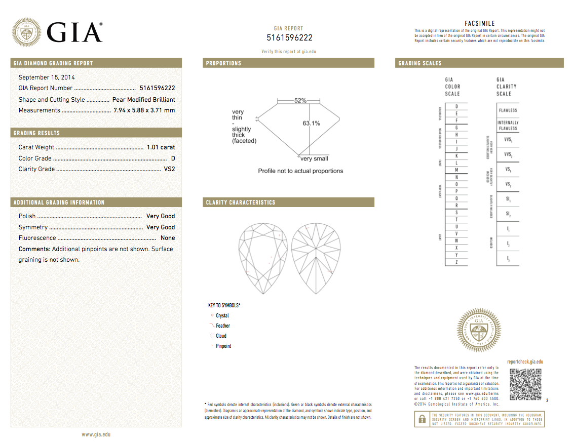Platinum and 18k Yellow Gold 1.01ct GIA Cert. Pear Shape Diamond Ring GIA report