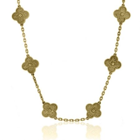 You are viewing this Van Cleef & Arpels Yellow Gold 10 Motif Vintage Alhambra Necklace!