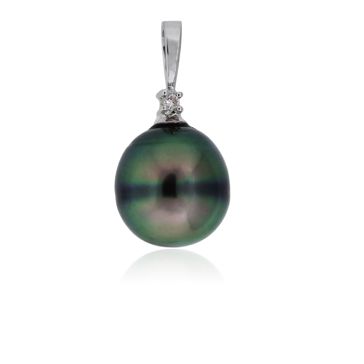 You are viewing this 14k White Gold Tahitian Pearl Diamond Slide Pendant!