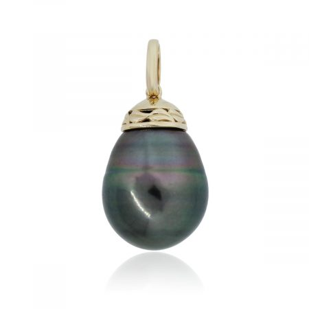 You are viewing this 14k Yellow Gold 16.5mm x 18.5mm Tahitian Pearl Slide Pendant!