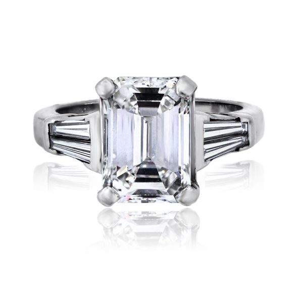 You are viewing this 14k White Gold 3.02ct Emerald Cut Diamond GIA Cert. Engagement Ring!
